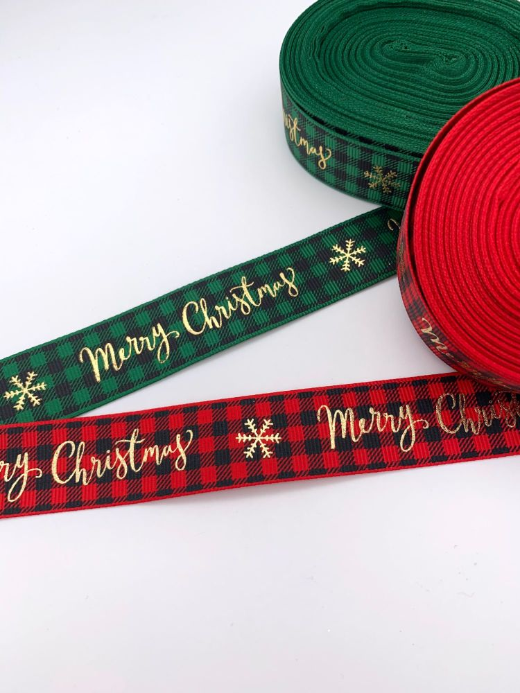 Merry Christmas Tartan Ribbons