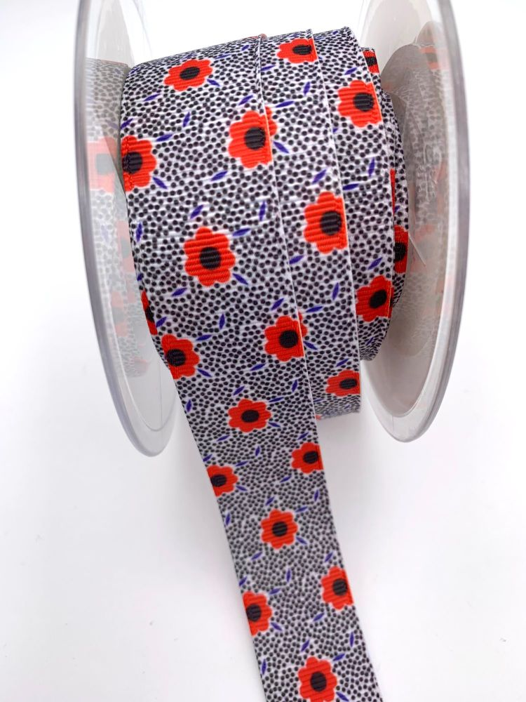 Poppy flower print grosgrain ribbon