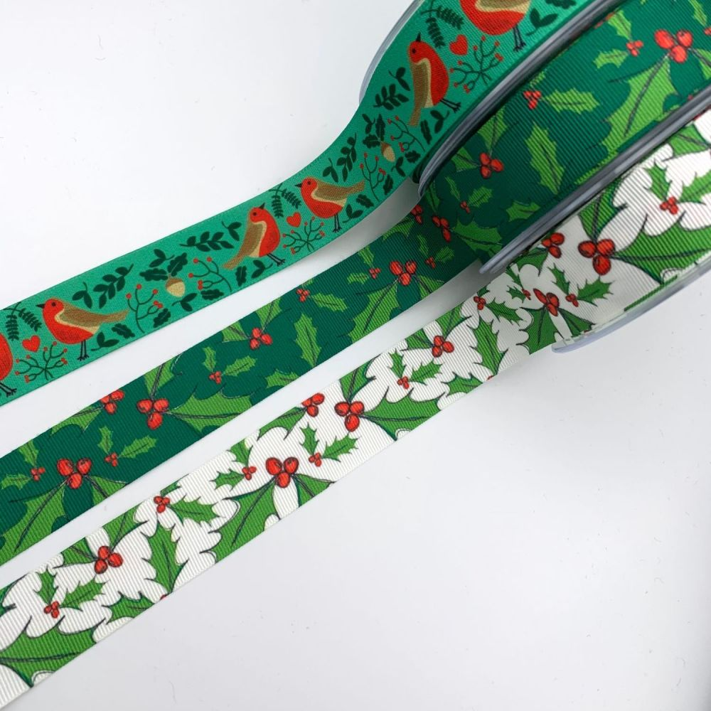 Holly Berry and Robins Nest Ribbons