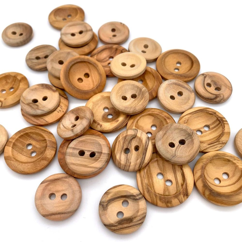Natural Olive Wood Concave Buttons - 2 sizes