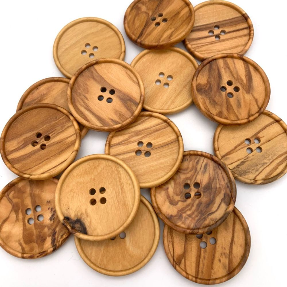 38mm Natural Olive Round Wooden Buttons