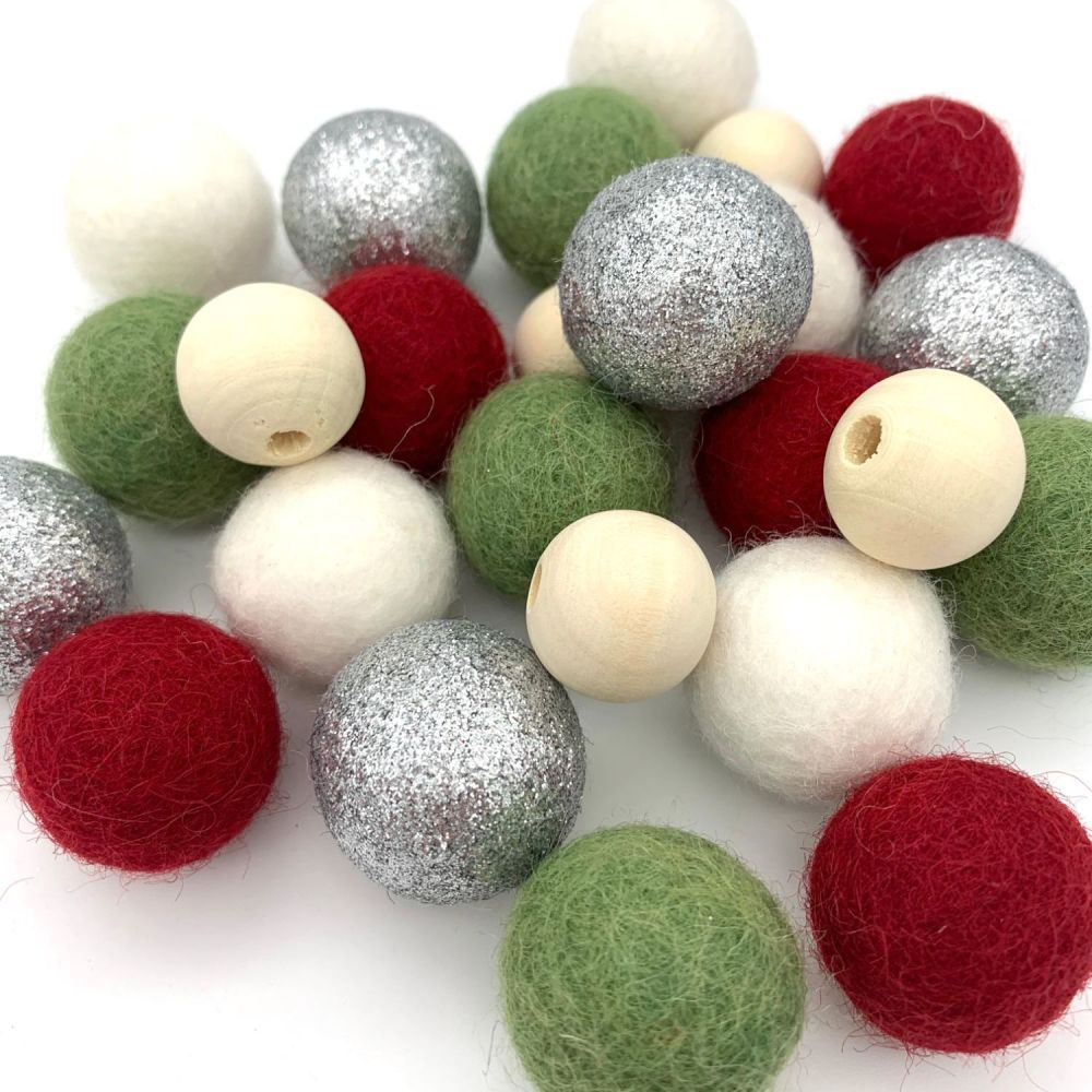 Silver Christmas Wool Felt Balls Mix / Wooden Beads