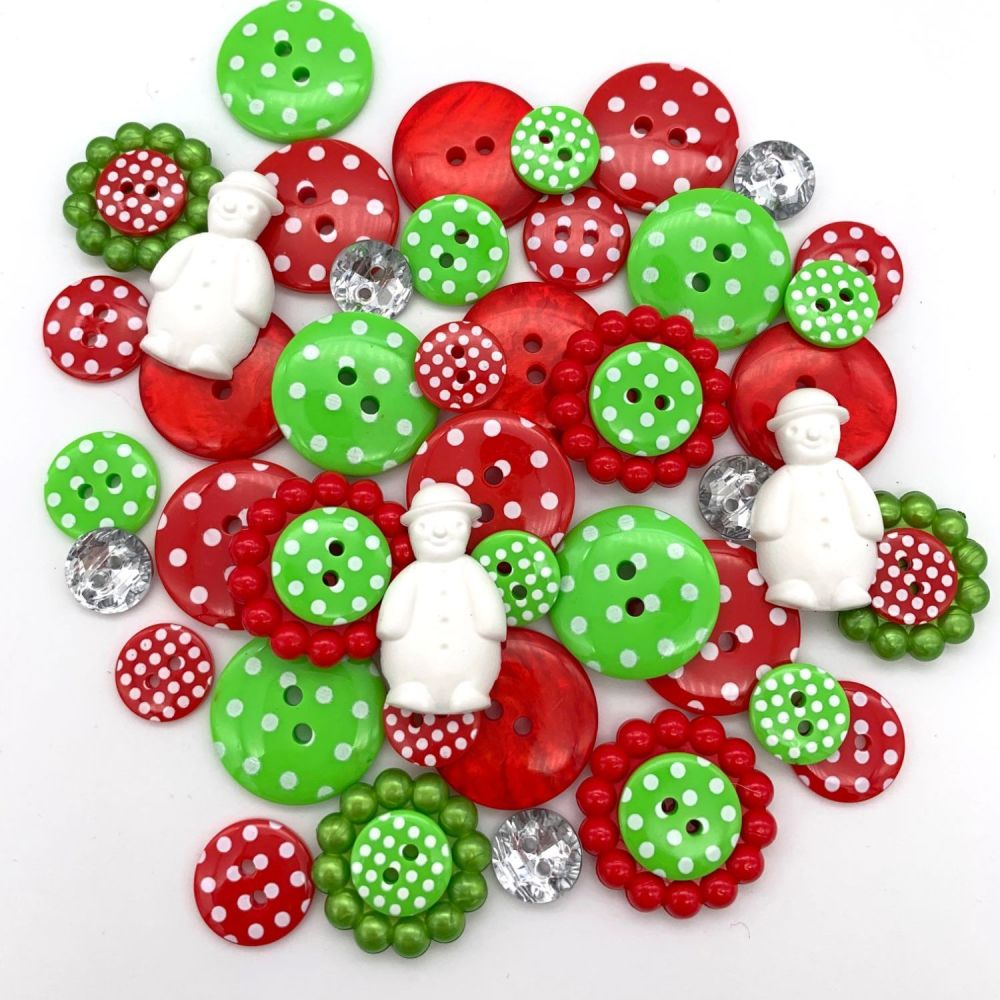 Snowman Spots Christmas Button Mix