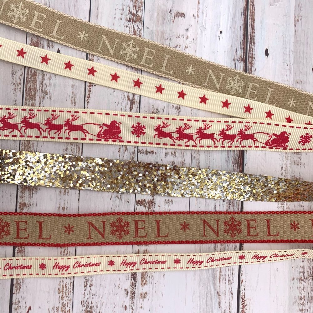 6m Ribbon Bundle - Golden Noel
