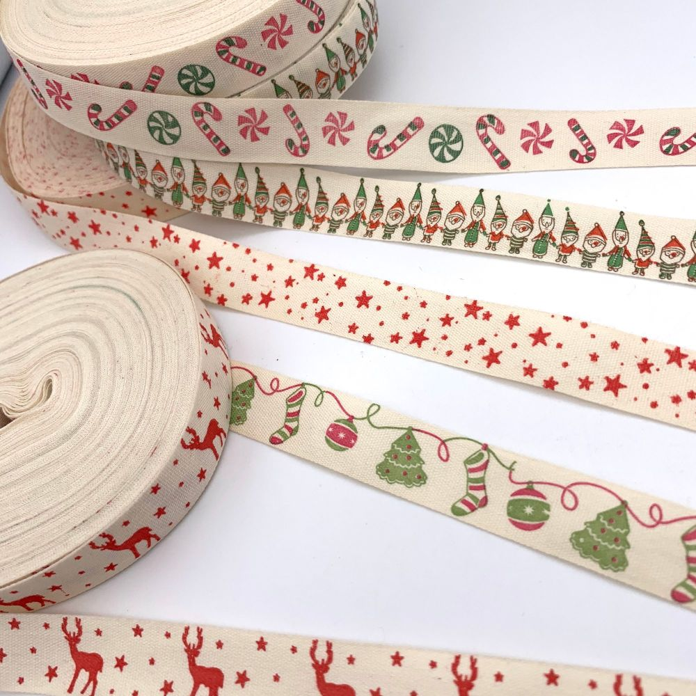 Christmas themed cotton ribbons