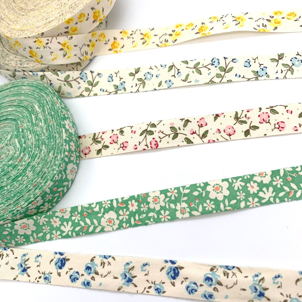 Ditsy Flower themed cotton ribbon trims