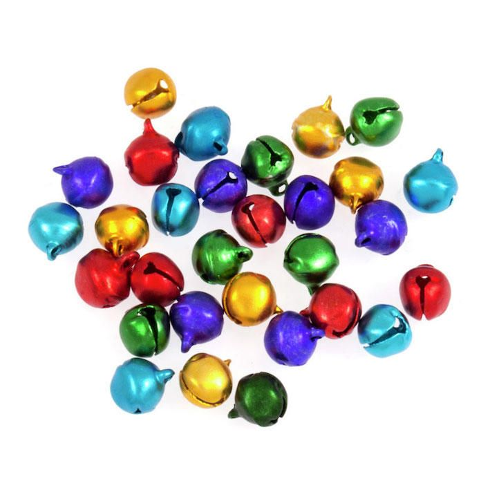 Trimits colourful Christmas bells / cats bells 10mm x 30 pcs