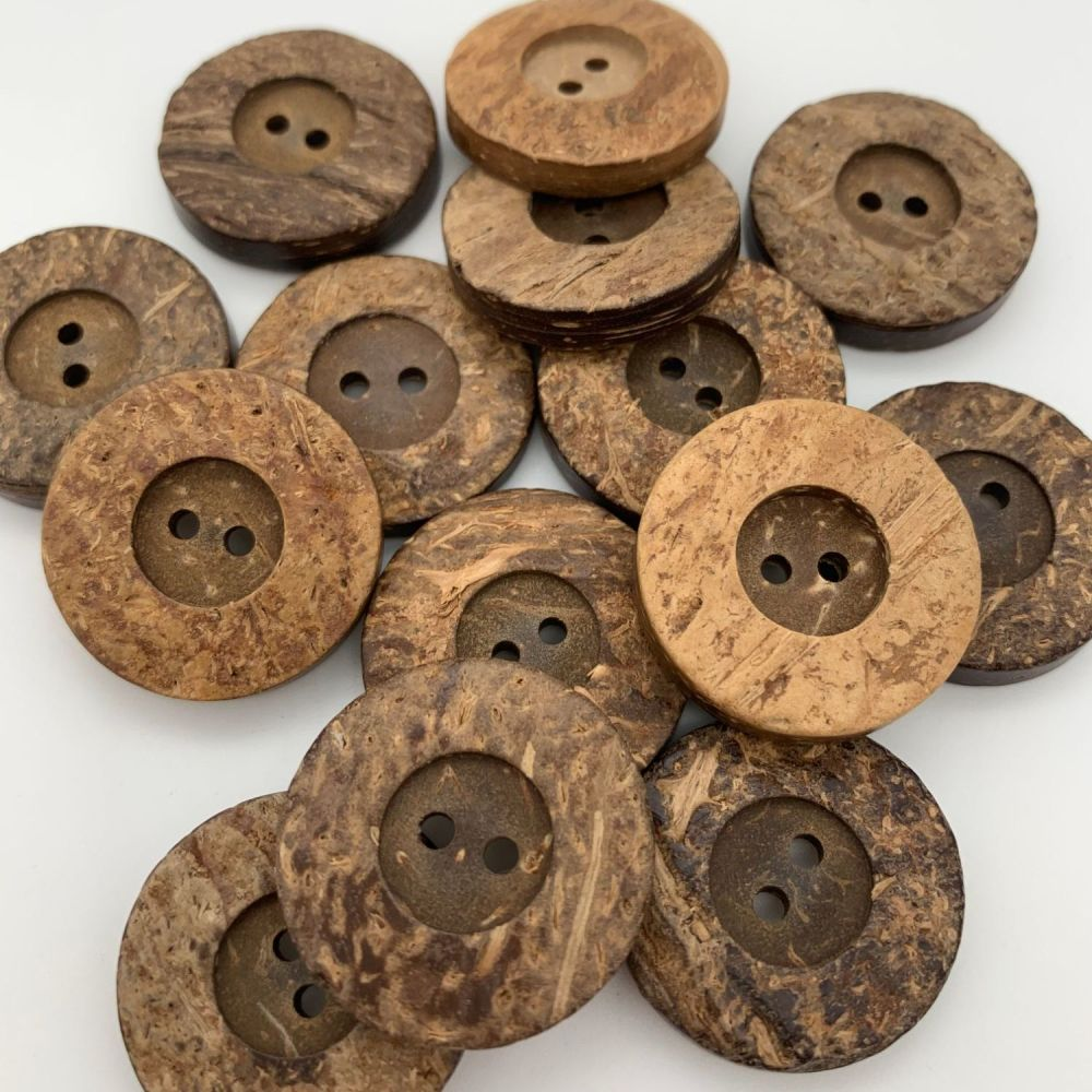 25mm Rimmed Coconut Shell Buttons