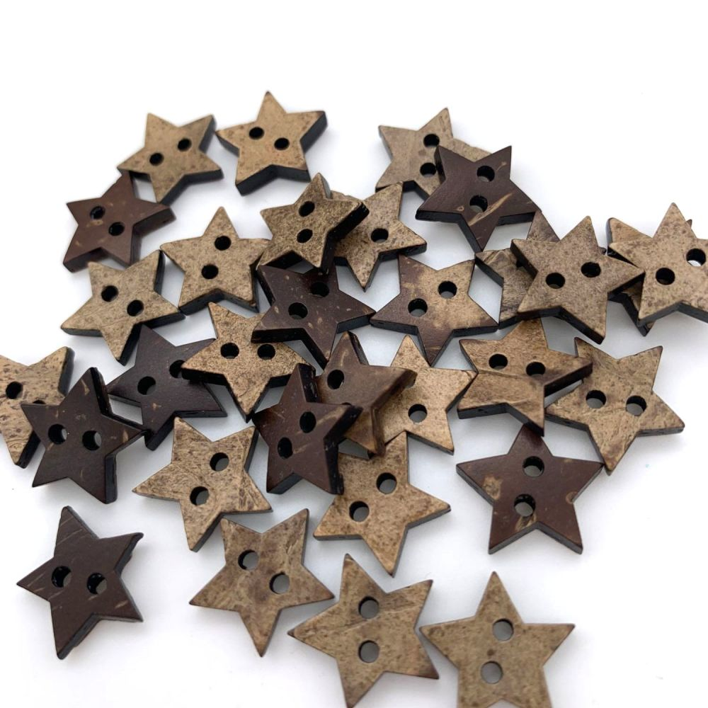 15mm Star Shaped Coconut Shell Buttons
