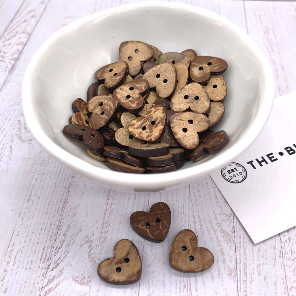 15mm Heart Shaped Coconut Shell Buttons