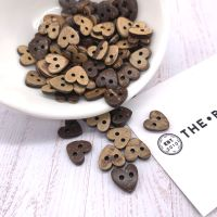 10mm Heart Shaped Coconut Shell Buttons