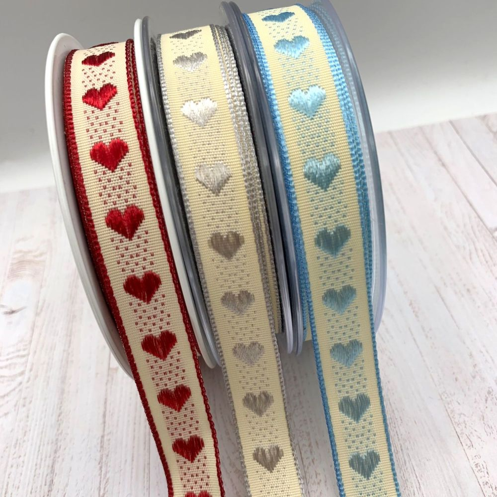 Berisford's 15mm Rustic Heart Ribbons