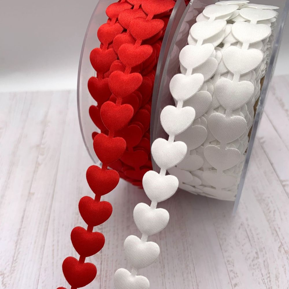 Satin linked heart ribbon - 2 colours