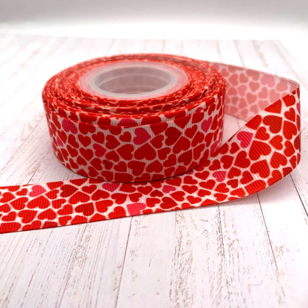 Valentines Day Heart print grosgrain ribbon