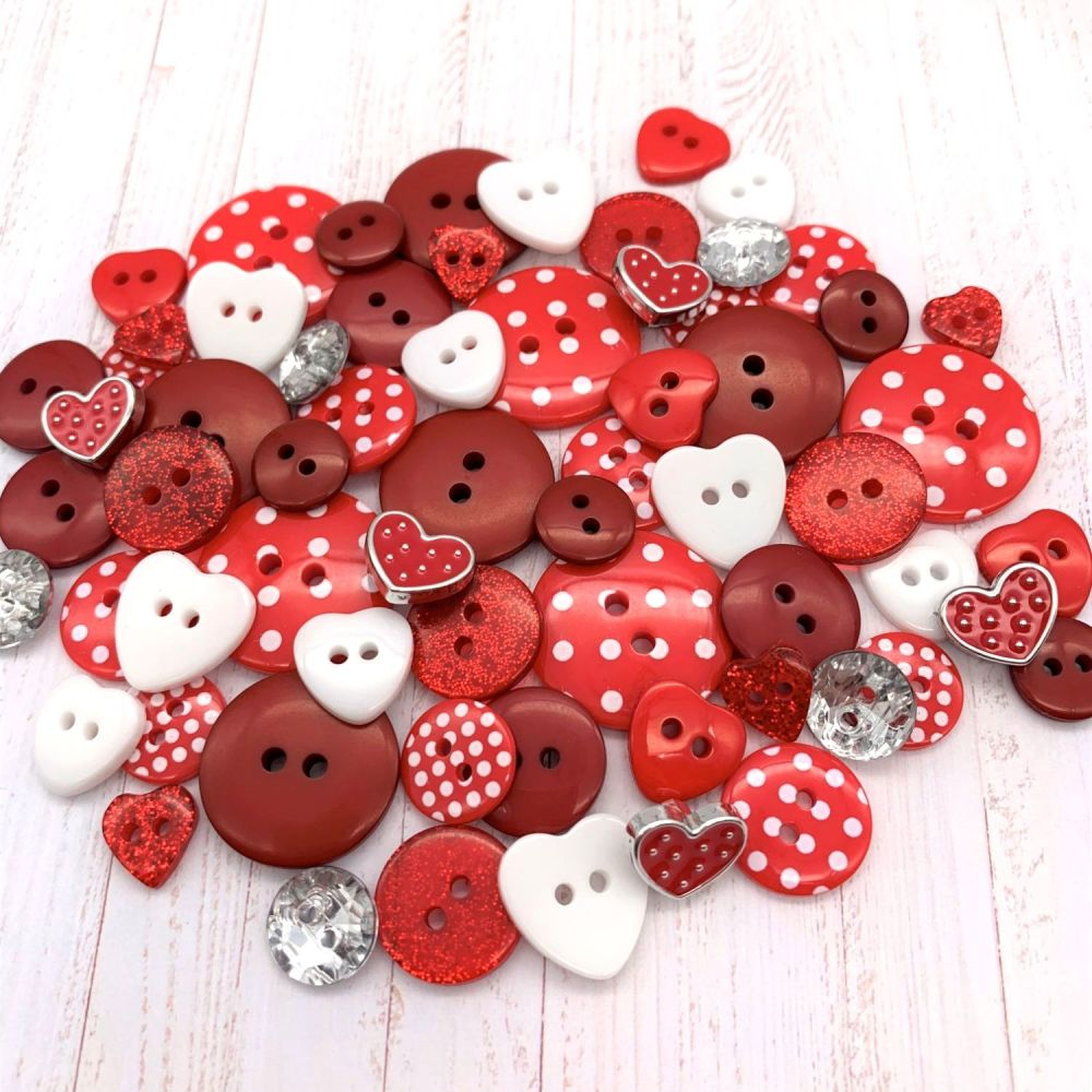 Valentines Day Super Red Button Collection - 65 buttons