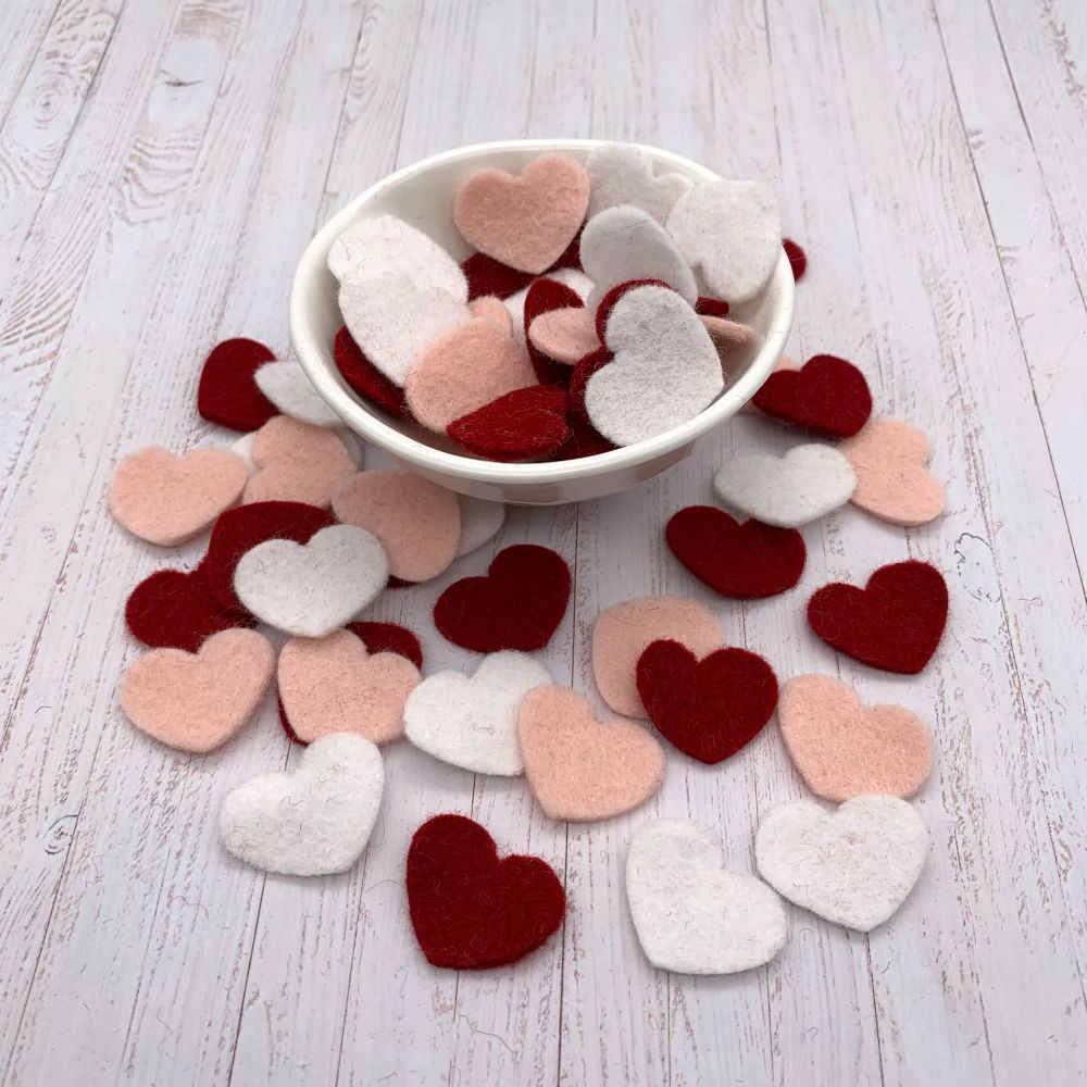 Wool Felt Shapes - Valentine Hearts - 3 Sizes Available