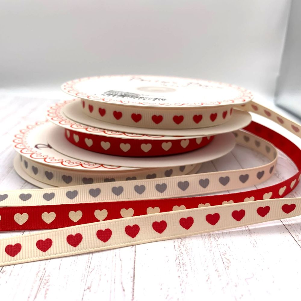 Berties Bows Love heart print ribbons - 3 colours available