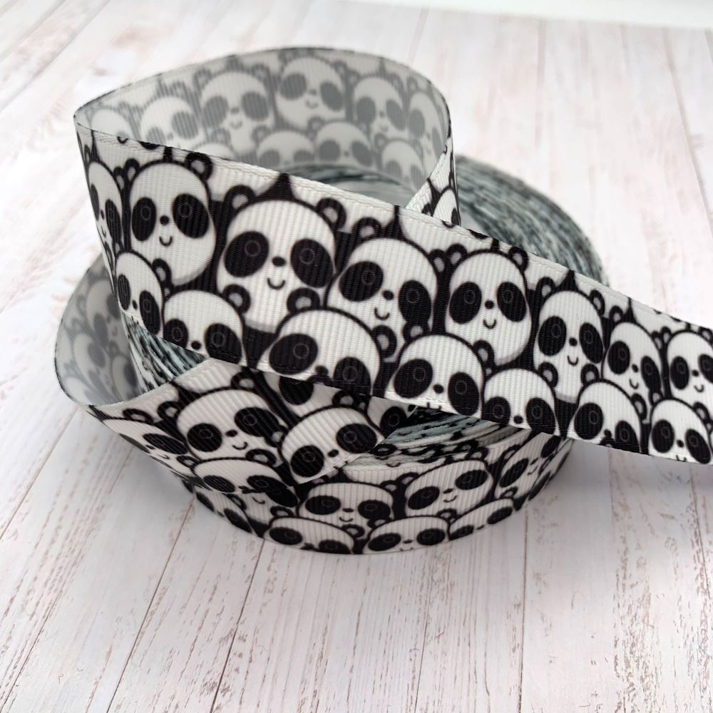 Panda Crowd print grosgrain ribbon