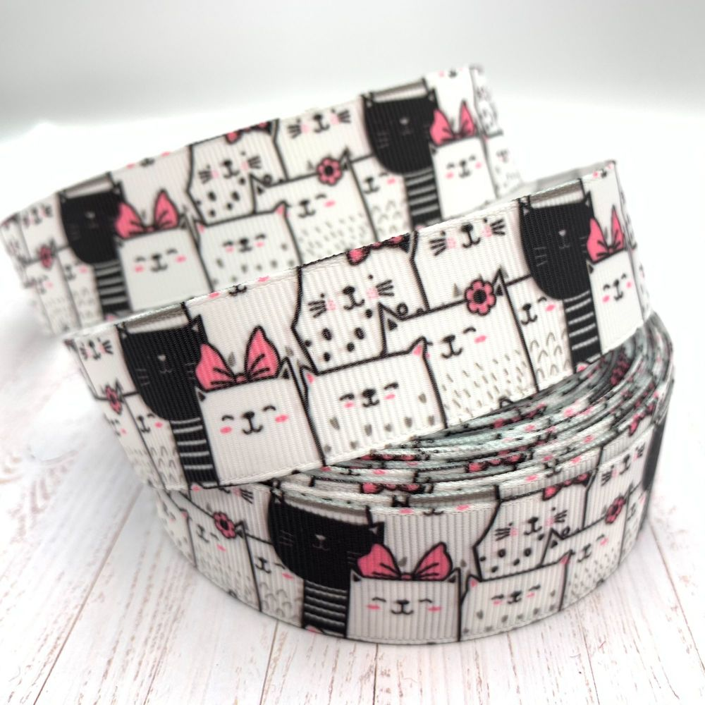 Kitty Crowd print grosgrain ribbon