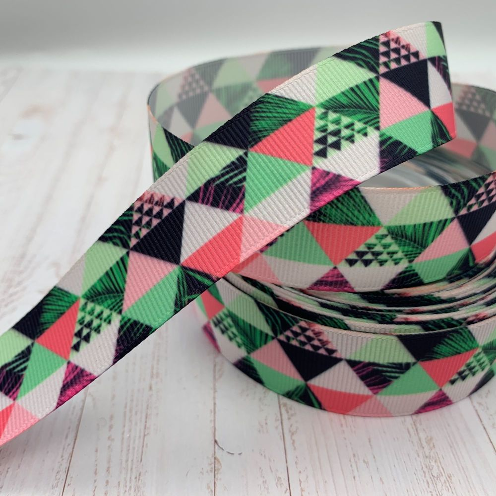 Tropical Geometric print grosgrain ribbon