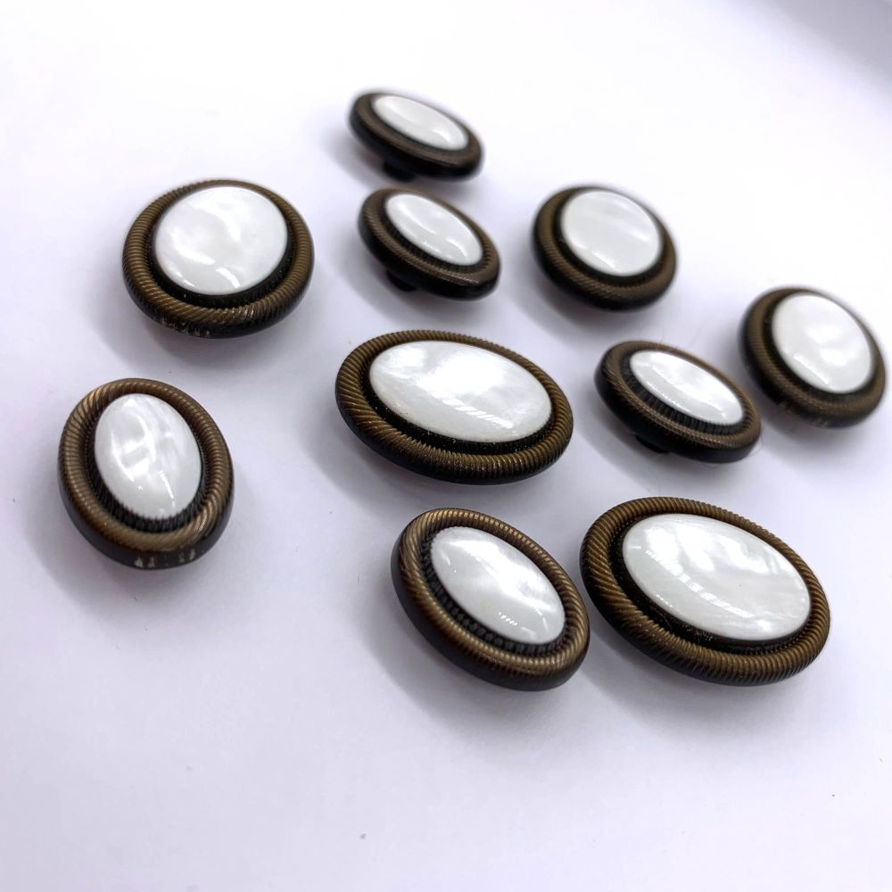Intricate Oval Shaped Pearl Effect Shank Buttons - 2 Sizes