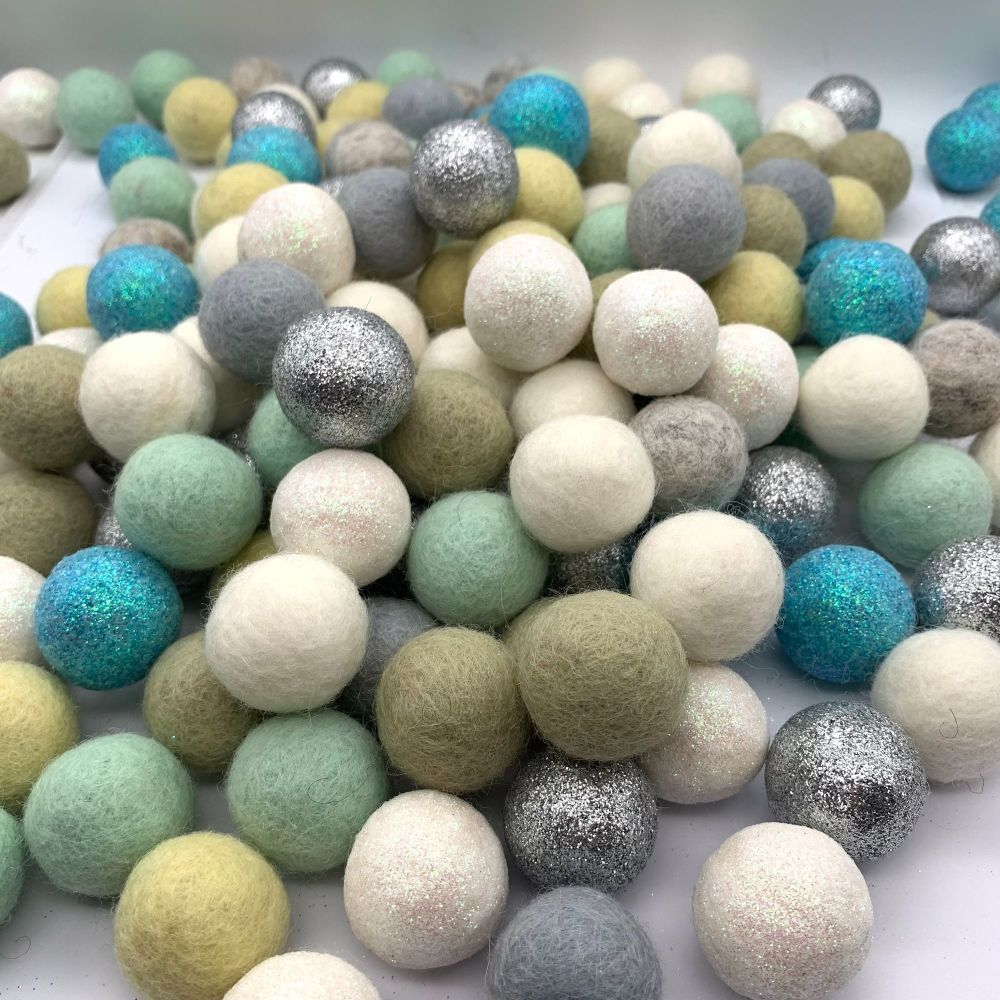 Glitter Mint Parade Wool Felt Balls Mix - 2.5cm x 36