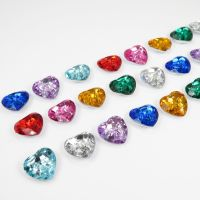 Acrylic Diamante Heart Shaped Buttons