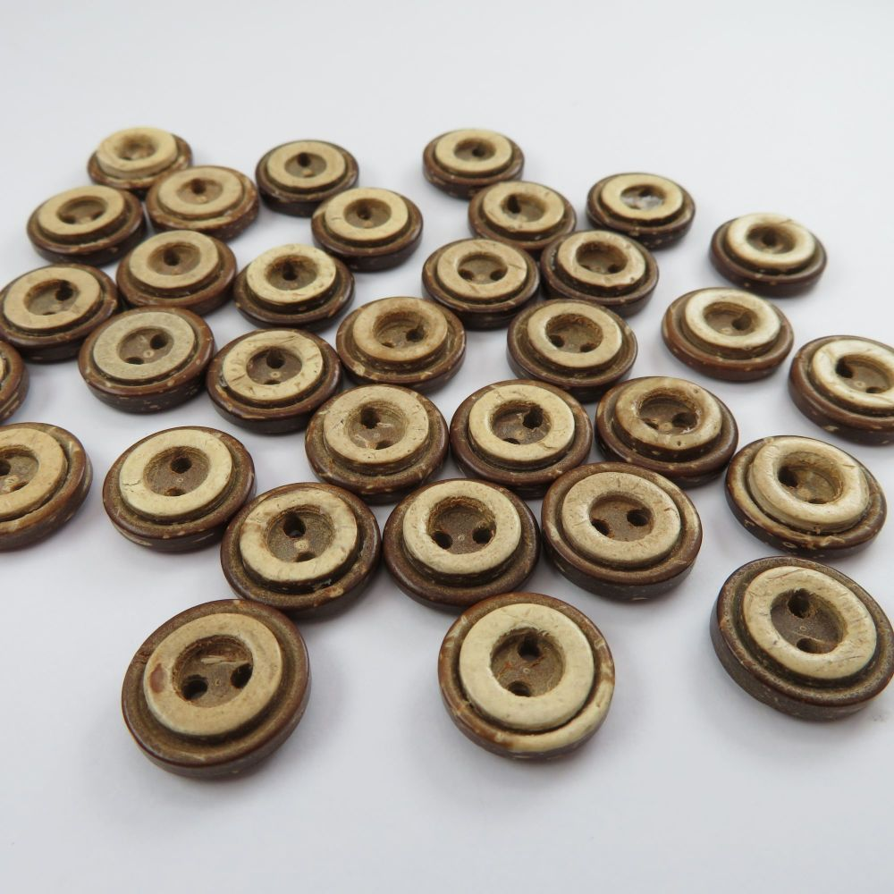 13mm Inlay Rimmed Coconut Shell Buttons