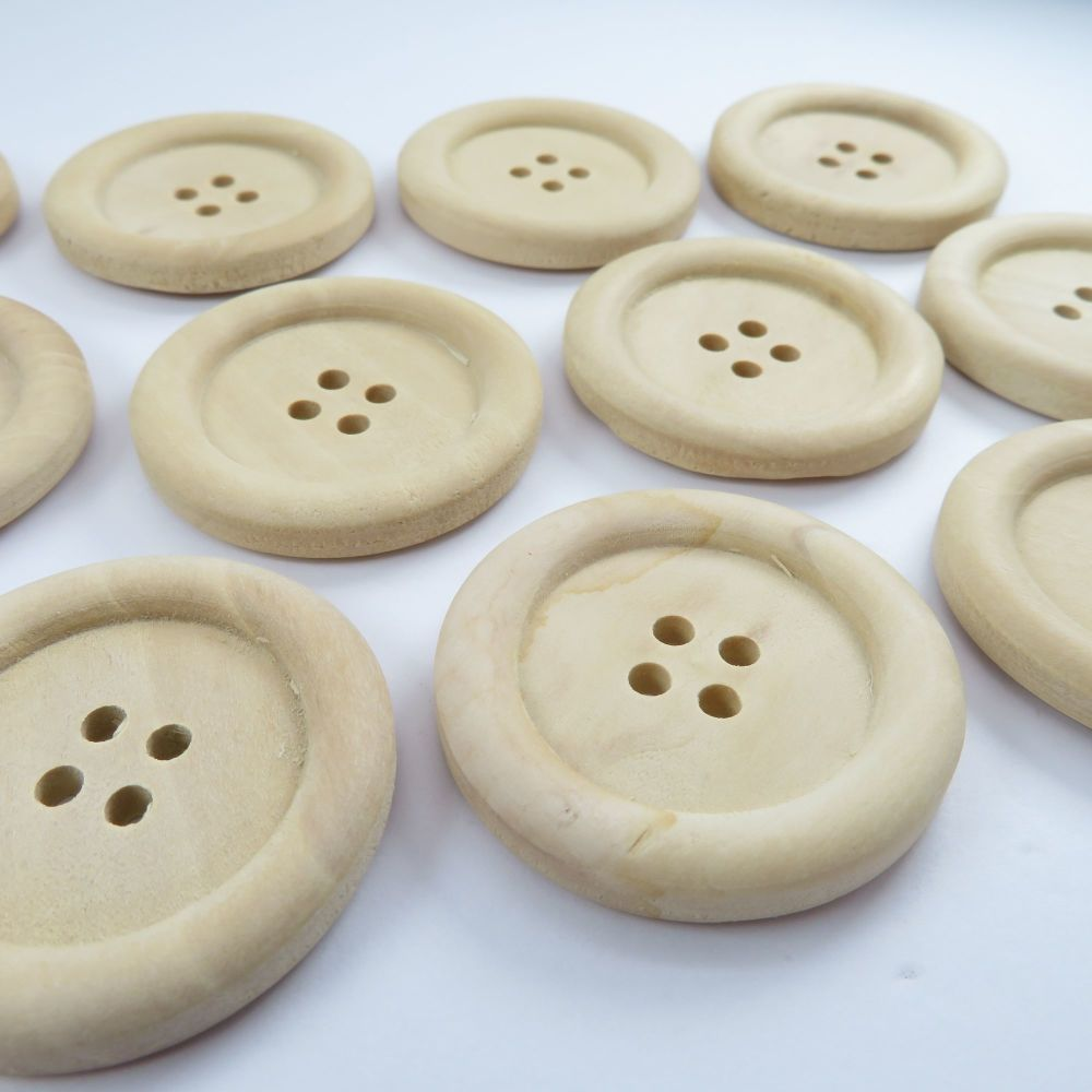 Natural Unlacquered Wooden Buttons - 35mm