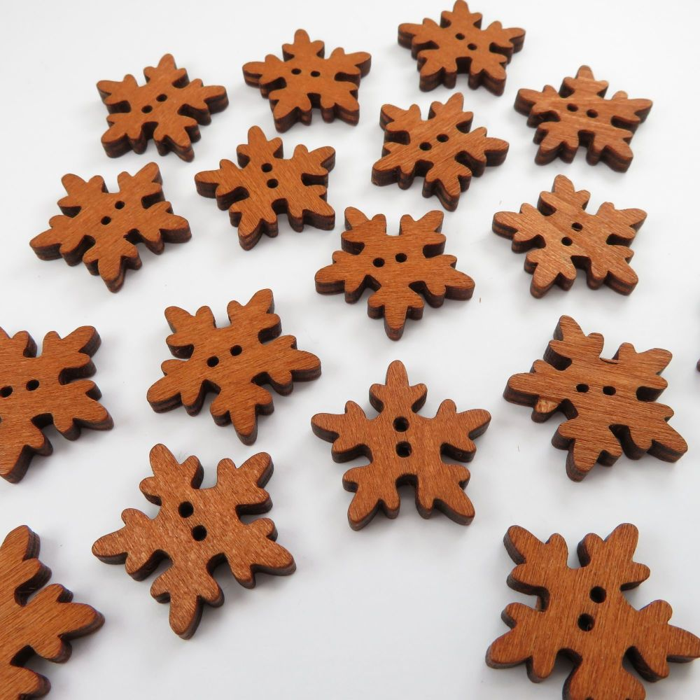 Novelty Snowflake Shaped Wooden Buttons - 25mm / 10 pack