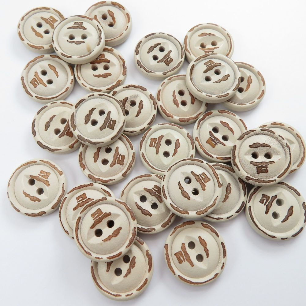 Vintage Effect Fish Eye Wooden Buttons 18mm / 10 pack