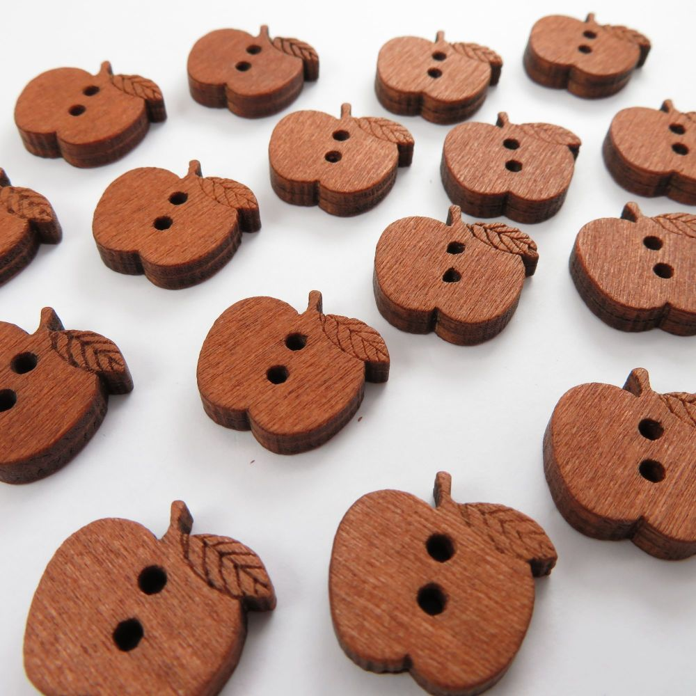 Novelty Teachers Apple Shaped Wooden Buttons - 10 pack