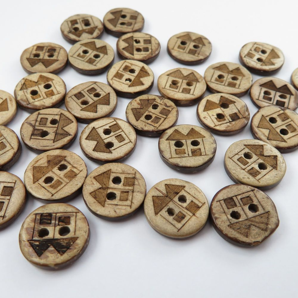 13mm House Print Coconut Shell Buttons