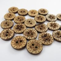 20mm Daisy Design Coconut Shell Buttons