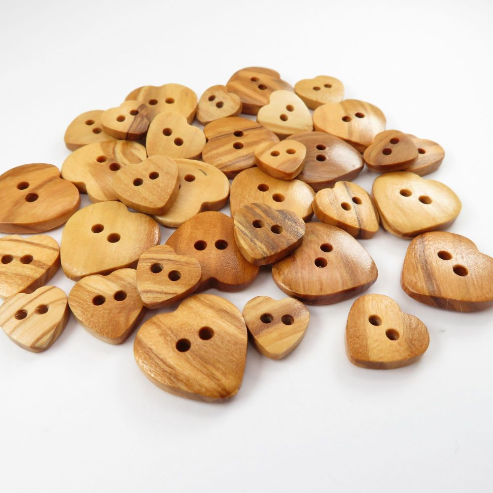 Natural Olive Heart Shaped Wooden Buttons - 3 sizes