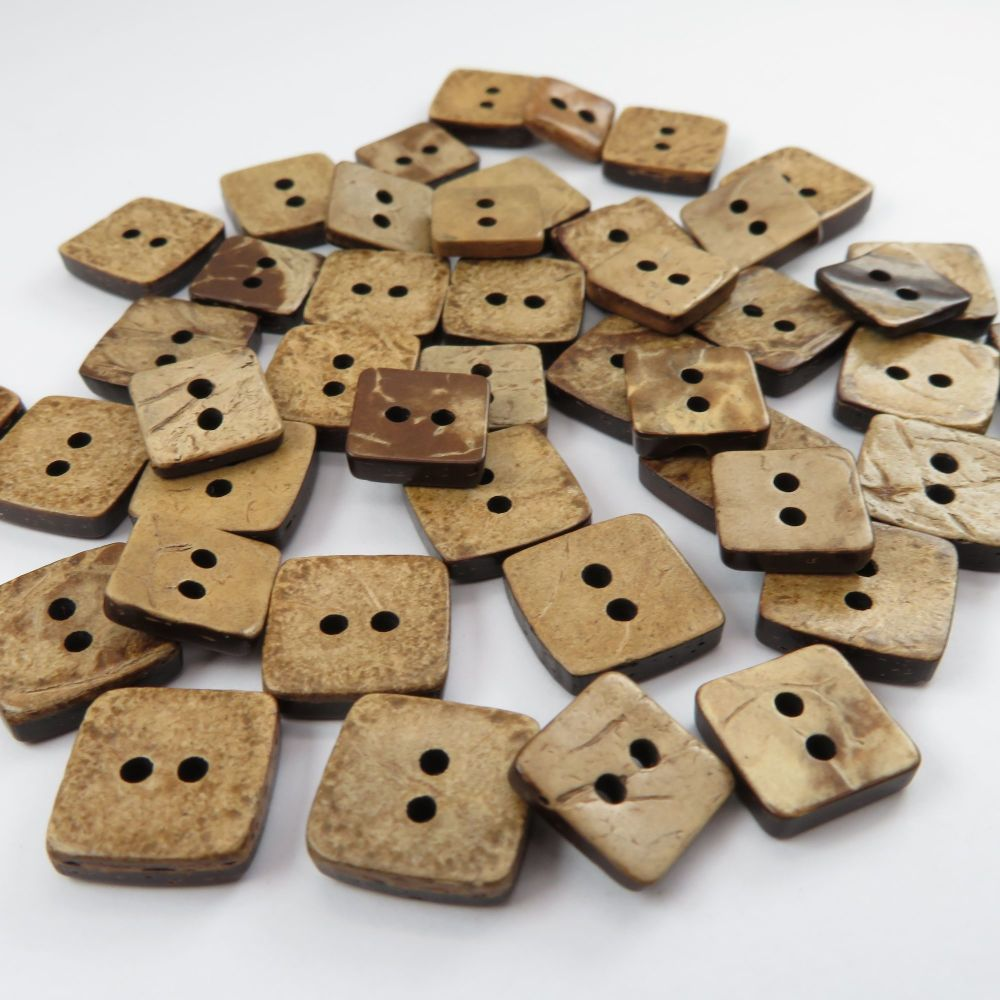 Square Coconut Shell Buttons - 2 Sizes Available