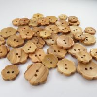 Natural Olive Wood Flower Shaped Buttons - 3 sizes