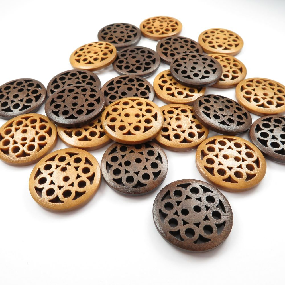 25mm Laser Carved Intricate Wooden Buttons - 2 colours