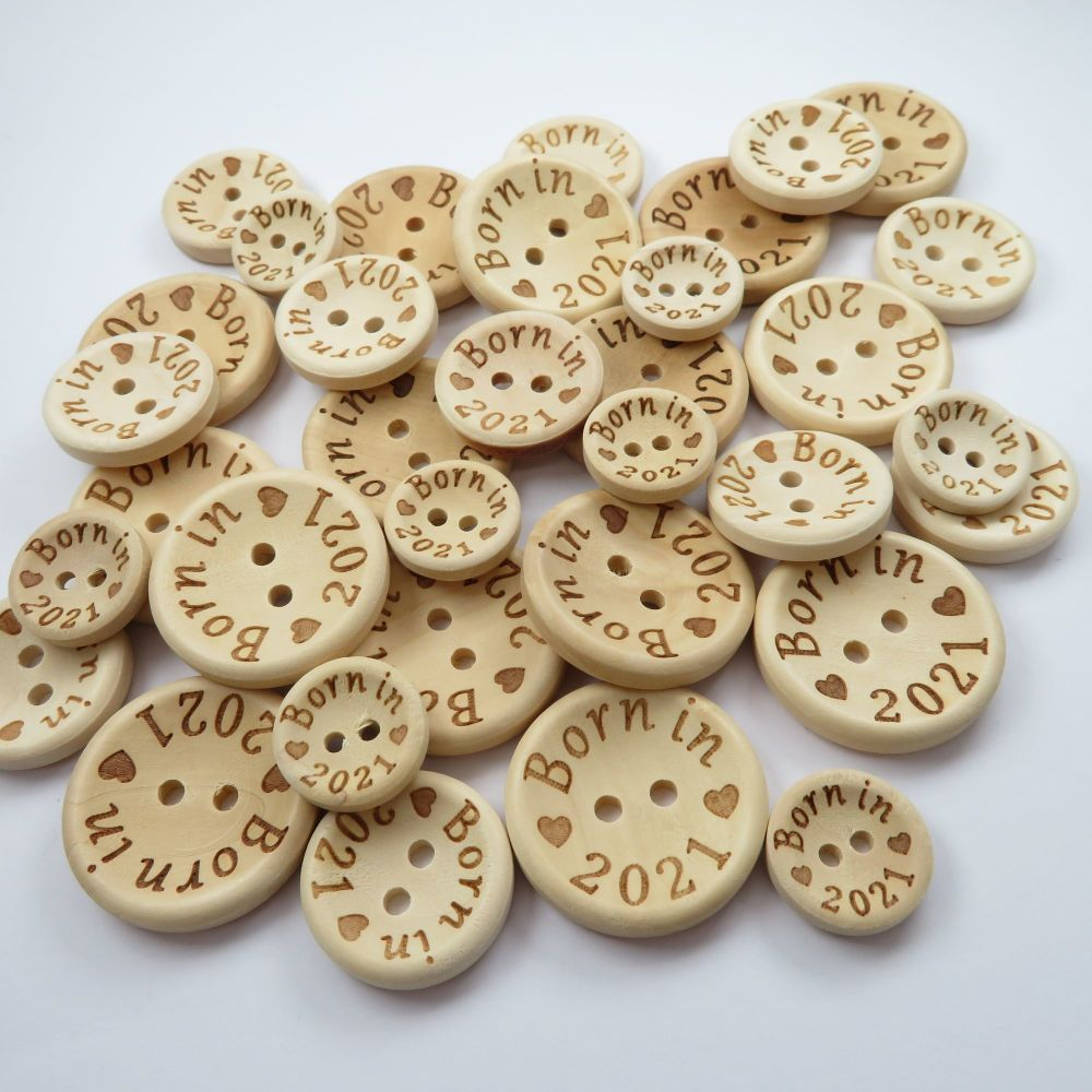 Born in 2021 Wooden Buttons - 3 sizes