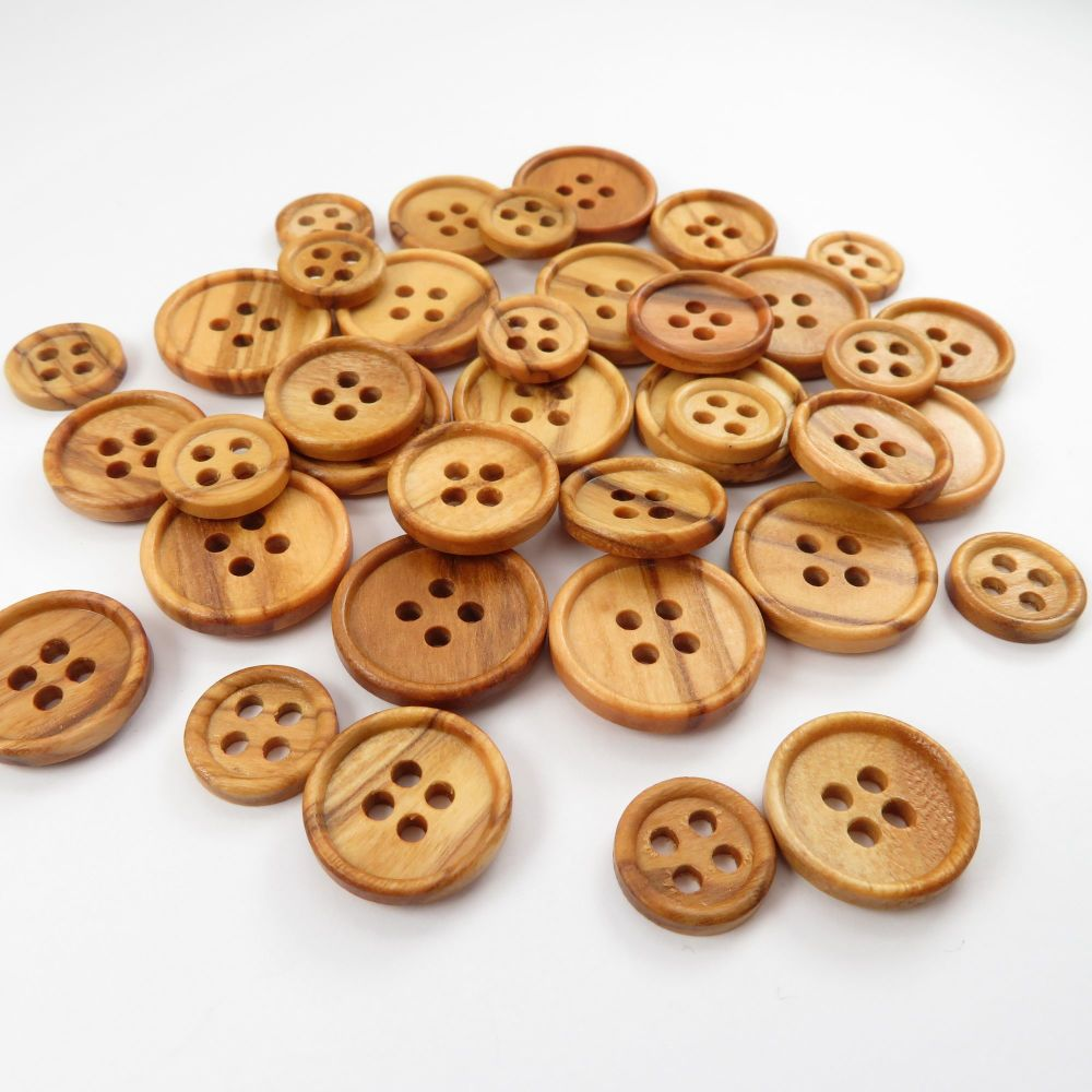 Natural Olive Rimmed Wooden Buttons - 3 sizes