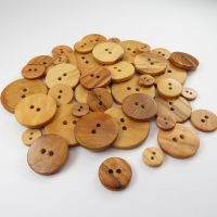Natural Olive Round Wooden Buttons - 5 sizes