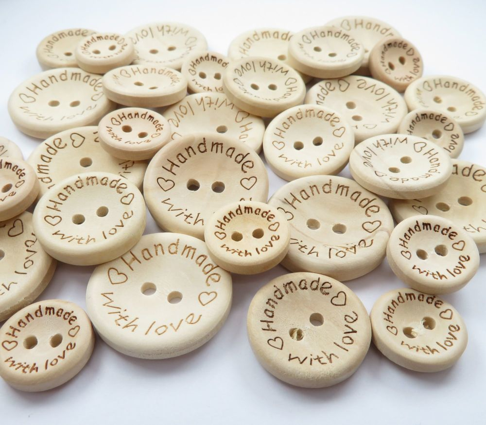 Handmade With Love Wooden Buttons - 3 sizes