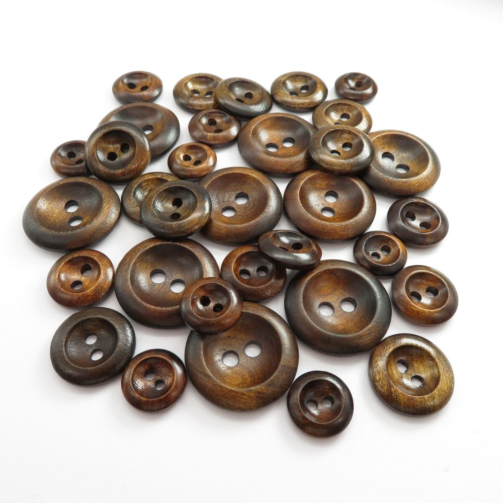 Dark Olive Curved Edge Wooden Buttons  - 4 sizes