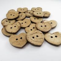23mm Heart Shaped Coconut Shell Buttons