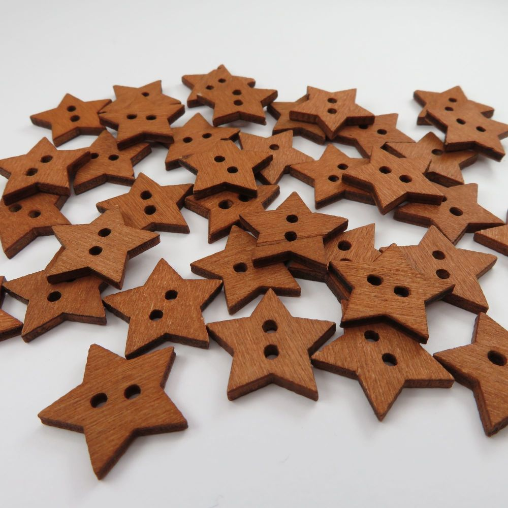 Novelty Star Shaped Wooden Buttons