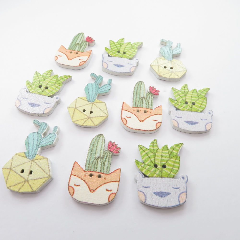 Novelty Kawaii Cactus Pots Shaped Wooden Buttons - 10 pack