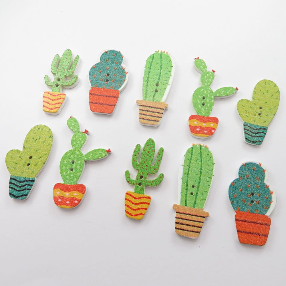 Novelty Cactus Shaped Wooden Buttons - 10 pack