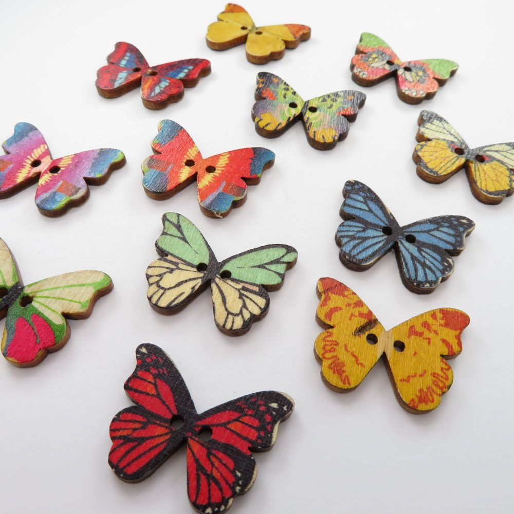 Novelty Mixed Butterfly Shaped Wooden Buttons - 12 pack