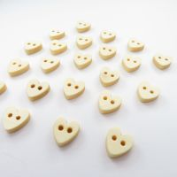 Teeny Tiny Wooden Heart Buttons - 10mm - 20 pack