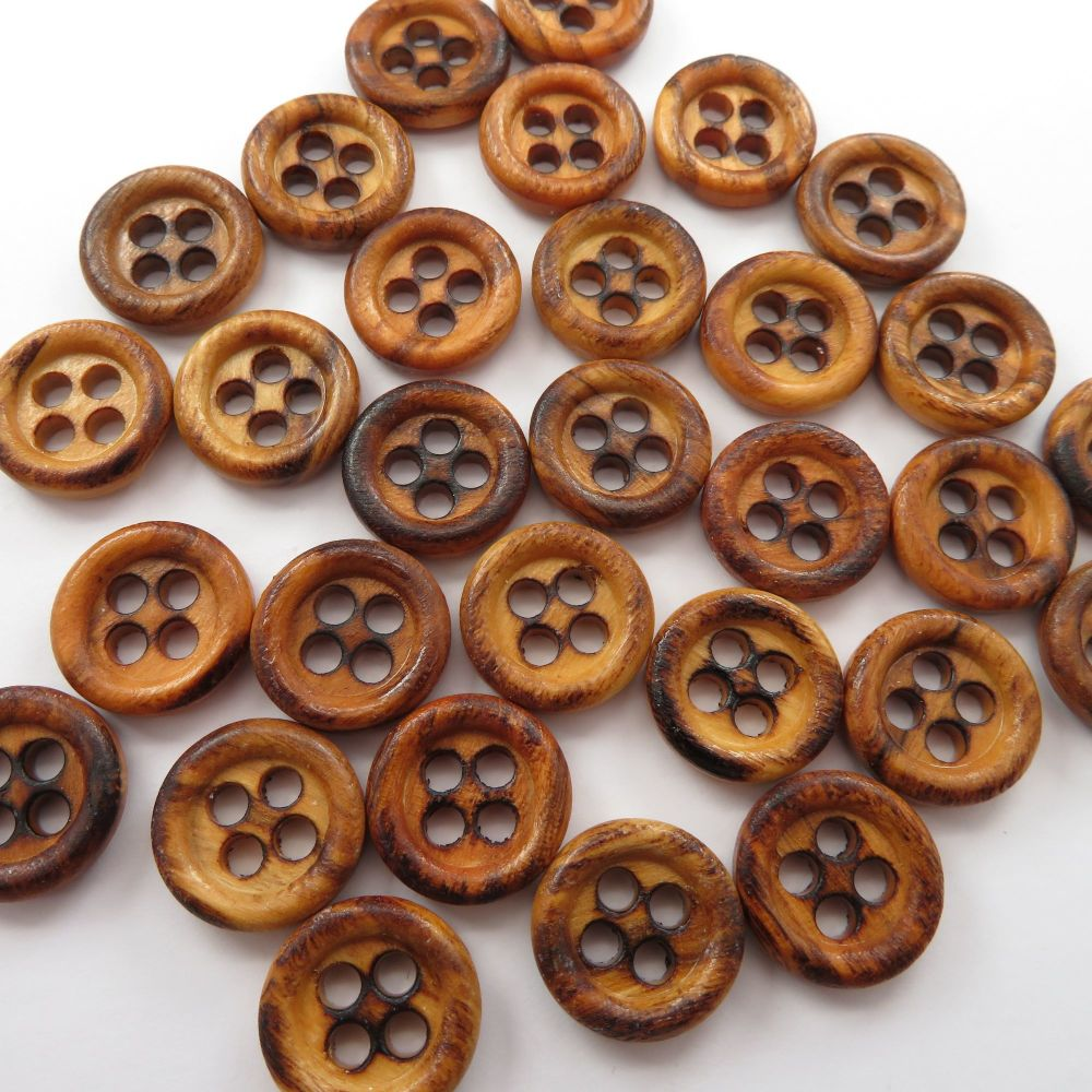 Burnt Olive Wood 4 Hole Buttons 15mm